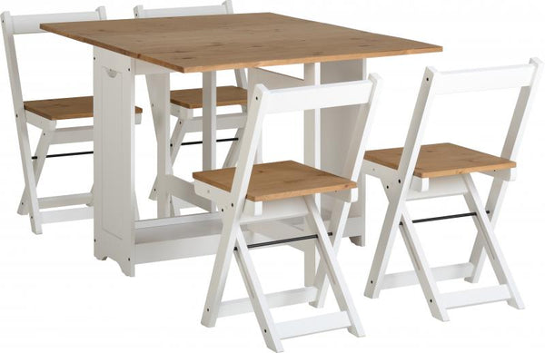 santos dining set with 4 matching chairs fully open