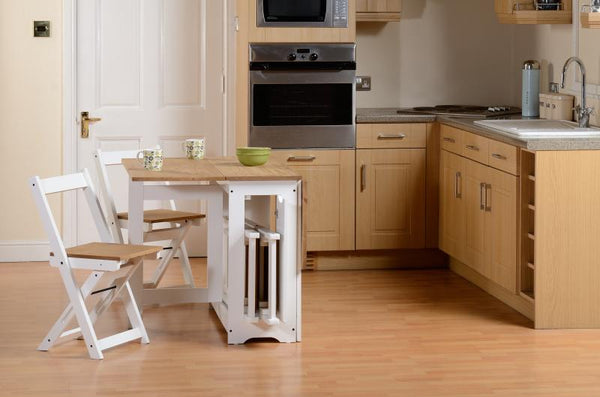 santos foldaway dining set with with leaf open in kitchen setting