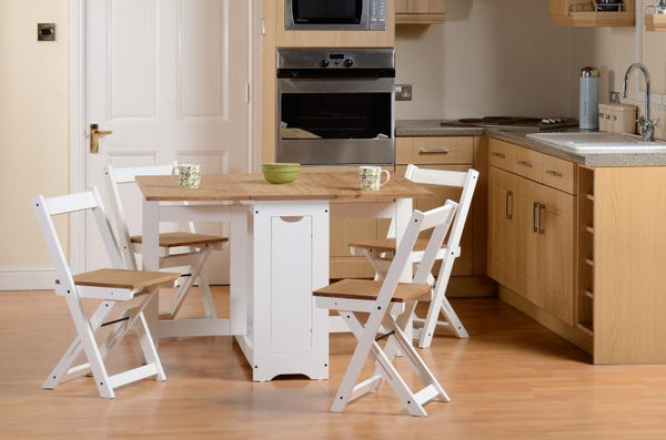 santos butterfly stowaway dining set with leafs open