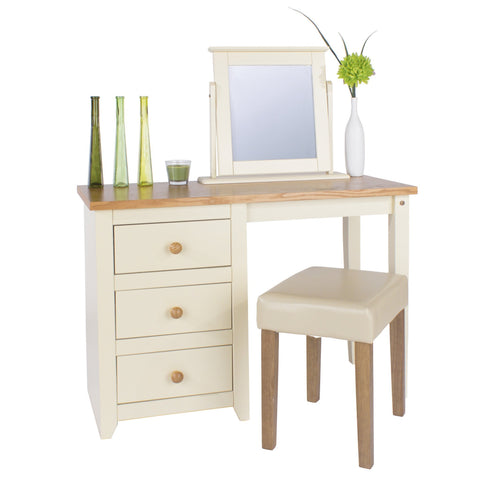 Jamestown Cream Leather Dressing Stool-Dressing Table Stools-core products-GoFurn Furniture Store Kent