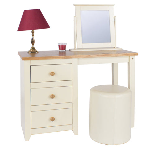 Jamestown Cream Leather Round Stool-Dressing Table Stools-core products-GoFurn Furniture Store Kent