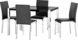 Karina Dining Set Black Gloss-dining set with chairs black-Seconique-GoFurn Furniture Store Kent