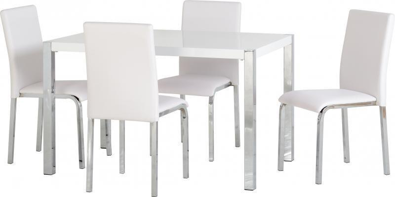 Karina Dining Set White Gloss-dining table and chairs white-Seconique-GoFurn Furniture Store Kent