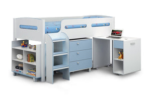 Kimbo White/Blue Childrens Cabin Bed-childrens beds-Julian Bowen-GoFurn Furniture Store Kent