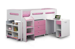 Kimbo White Pink Childrens Cabin Bed-Childrens Beds-Julian Bowen-GoFurn Furniture Store Kent