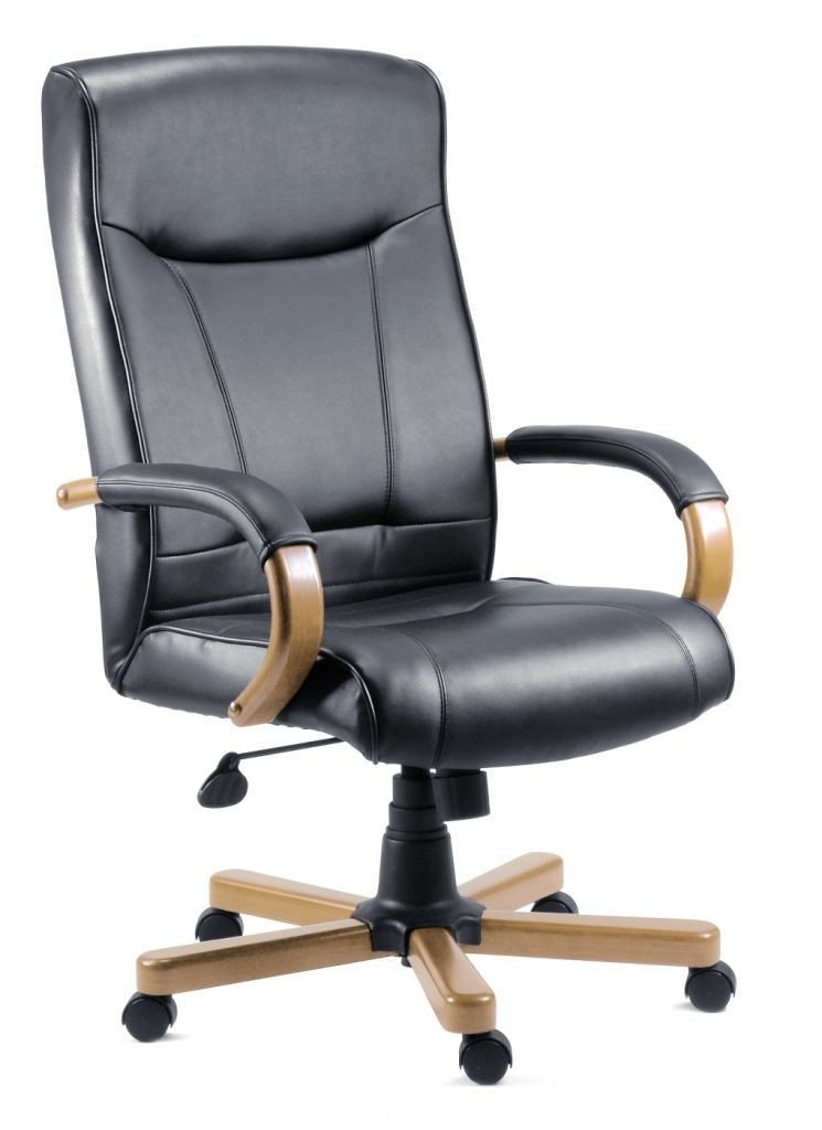 Kingston Leather Executive Office Chair-leather executive office chair black-teknik-GoFurn Furniture Store Kent