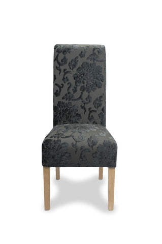 Krista Baroque Charcoal Fabric Dining Chair-fabric dining chairs-shankar-GoFurn Furniture Store Kent