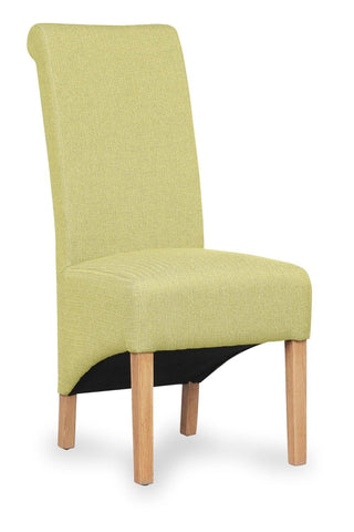 Krista Herringbone Plain Lime Fabric Dining Chair-fabric dining chairs-shankar-GoFurn Furniture Store Kent