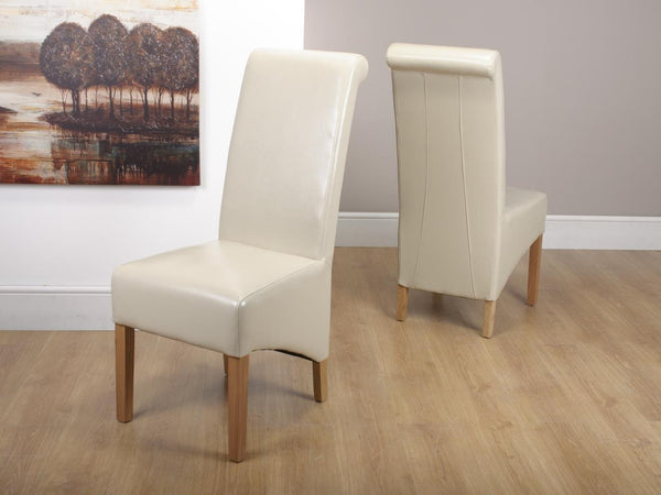 Krista Ivory Leather Dining Chair-ivory Leather dining chairs-shankar-GoFurn Furniture Store Kent