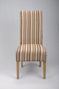 Krista Stripe Antique Gold Fabric Dining Chair-fabric dining chairs-shankar-GoFurn Furniture Store Kent