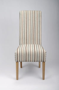 Krista Stripe Duck Egg Blue Fabric Dining Chair-fabric dining chairs-shankar-GoFurn Furniture Store Kent