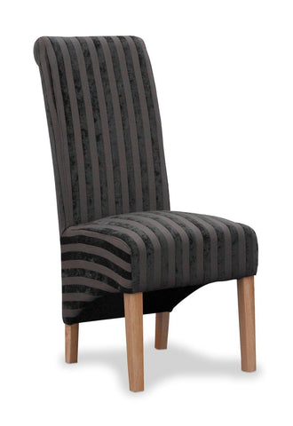 Krista Velvet Stripe Charcoal Fabric Dining Chair-fabric dining chairs-shankar-GoFurn Furniture Store Kent