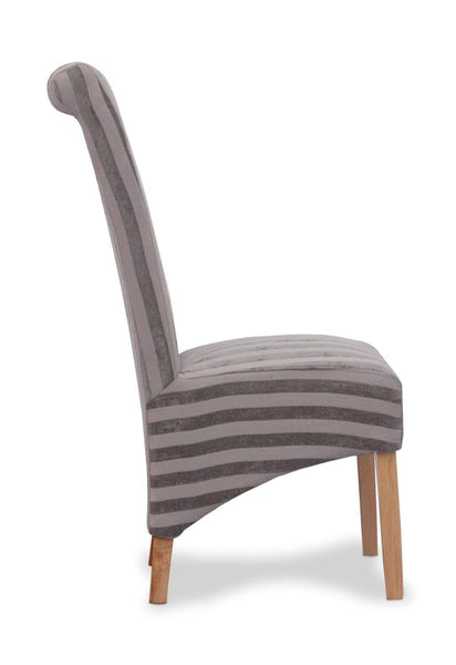 Krista Velvet Stripe Mink Fabric Dining Chair-fabric dining chairs-shankar-GoFurn Furniture Store Kent