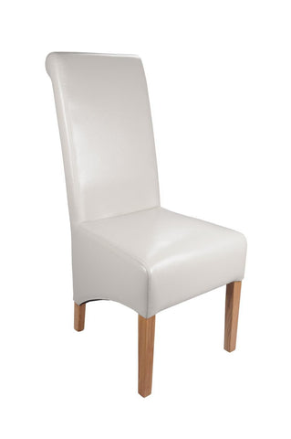 Krista White Leather Dining Chair-Leather dining chairs-shankar-GoFurn Furniture Store Kent