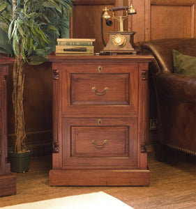 La Roque Solid Mahogany Two Drawer Filing Cabinet-mahogany filing cabinets-Baumhaus-GoFurn Furniture Store Kent
