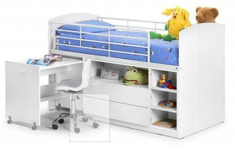 Leo Sleeper All White Finish Childs Bed-childrens beds-Julian Bowen-GoFurn Furniture Store Kent