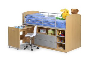 Leo Sleeper Maple/Aluminium Finish Childs Bed-childrens Beds-Julian Bowen-GoFurn Furniture Store Kent