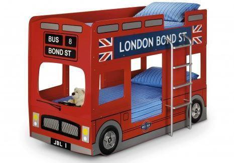 London Bus Bunk Red Lacquered Finish Bed-childrens bus bunk Beds-Julian Bowen-GoFurn Furniture Store Kent