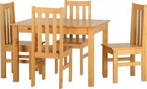 Ludlow Dining Set in Oak Style Finish-budget dining sets-Seconique-GoFurn Furniture Store Kent