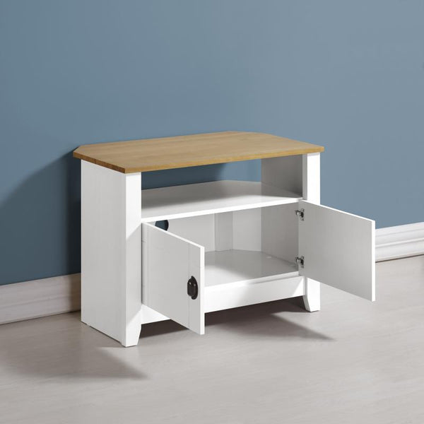 ludlow white and pine tv unit with doors open