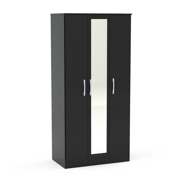 Lynx Black 3 Door Wardrobe With Mirror-3 door black Wardrobes with mirror-birlea-GoFurn Furniture Store Kent