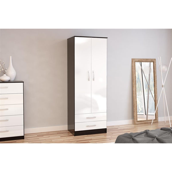Lynx Black & White 2 Door Combination Wardrobe-Black & White 2 Door Combination Wardrobe-birlea-GoFurn Furniture Store Kent