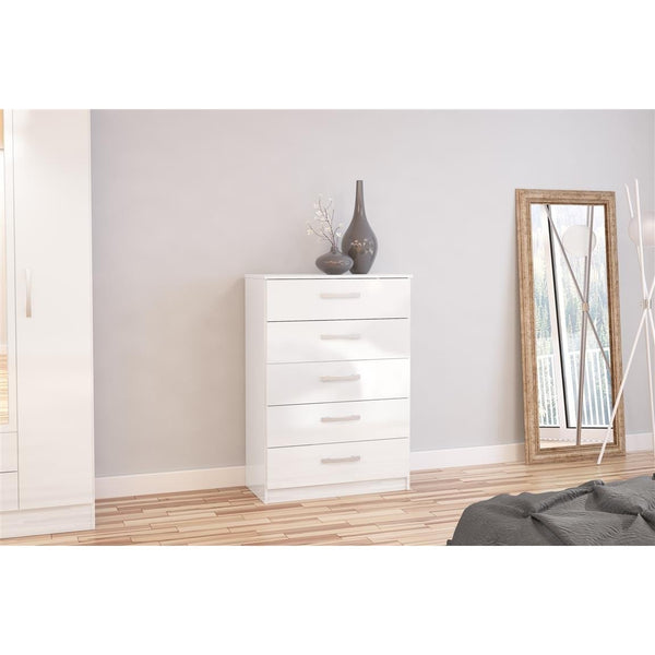 Lynx White 5 Drawer Chest of Drawers-white chest of 5 drawers-birlea-GoFurn Furniture Store Kent