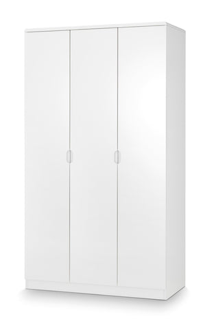 Manhattan White High Gloss 3 Door Wardrobe-white 3 door wardrobe-Julian Bowen-GoFurn Furniture Store Kent