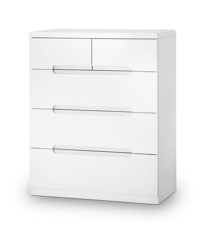 Manhattan White High Gloss 3+2 Drawer Chest of Drawers-White Chest of Drawers-Julian Bowen-GoFurn Furniture Store Kent