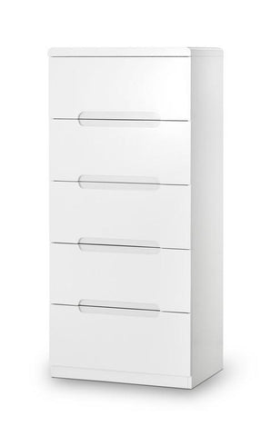 Manhattan White High Gloss 5 Drawer Narrow Chest of Drawers-White Chest of Drawers-Julian Bowen-GoFurn Furniture Store Kent