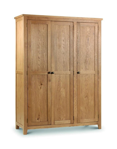 Marlborough Oak 3 Door Wardrobe-Oak Wardrobe 3 door-Julian Bowen-GoFurn Furniture Store Kent