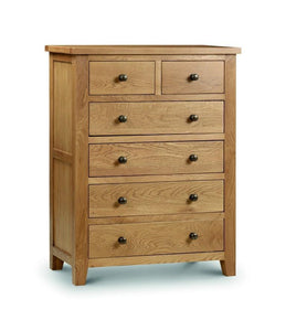 Marlborough Oak 4+2 Chest of Drawers-Oak Chests of Drawers-Julian Bowen-GoFurn Furniture Store Kent