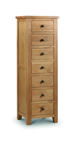 Marlborough Oak 7 Drawer Chest of Drawers-Oak Narrow Chests of Drawers-Julian Bowen-GoFurn Furniture Store Kent