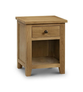 Marlborough Oak Bedside 1 Drawer-Oak Bedside Cabinets-Julian Bowen-GoFurn Furniture Store Kent