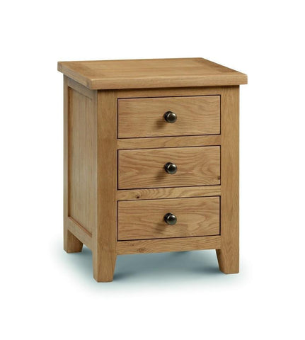 Marlborough Oak Bedside 3 Drawer Cabinet-Oak Bedside Cabinets-Julian Bowen-GoFurn Furniture Store Kent