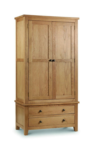 Marlborough Oak Combination Wardrobe-Oak Wardrobes-Julian Bowen-GoFurn Furniture Store Kent