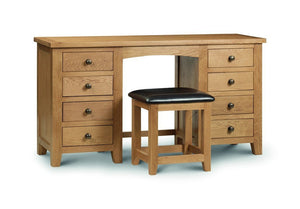 Marlborough Warm Oak Furniture Twin Pedestal Dressing Table-Oak Dressing Tables-Julian Bowen-GoFurn Furniture Store Kent