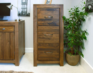 Mayan Solid Walnut Three Drawer Filing Cabinet-walnut filing cabinets-Baumhaus-GoFurn Furniture Store Kent