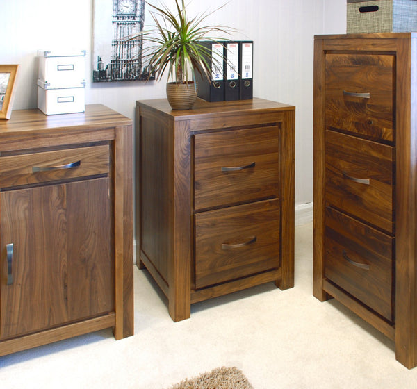 Mayan Solid Walnut Two Drawer Filing Cabinet-walnut filing cabinets-Baumhaus-GoFurn Furniture Store Kent