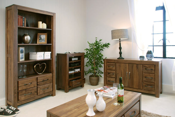 Mayan Walnut Large Four Drawer Bookcase-home office storage bookcase-Baumhaus-GoFurn Furniture Store Kent