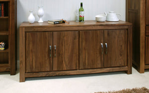 Mayan Walnut Large Low Sideboard-walnut sideboards-Baumhaus-GoFurn Furniture Store Kent