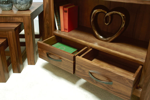 Mayan Walnut Low Bookcase-home office storage bookcase-Baumhaus-GoFurn Furniture Store Kent