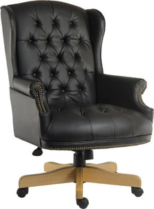 Merton Black Leather Executive Office Chair-leather executive traditional office chair-teknik-GoFurn Furniture Store Kent