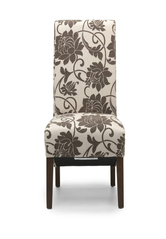 Mia Floral Brown Fabric Dining Chair Dark Legs-fabric dining chair dark legs-shankar-GoFurn Furniture Store Kent