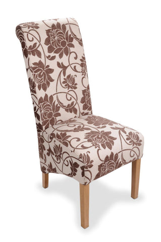 Mia Floral Brown Fabric Dining Chair-fabric dining chairs-shankar-GoFurn Furniture Store Kent