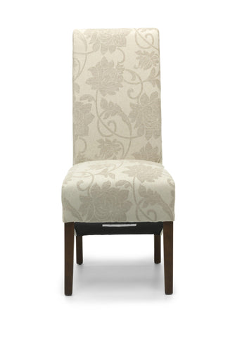 Mia Floral Cream Fabric Dining Chair Dark Legs-fabric dining chairs-shankar-GoFurn Furniture Store Kent