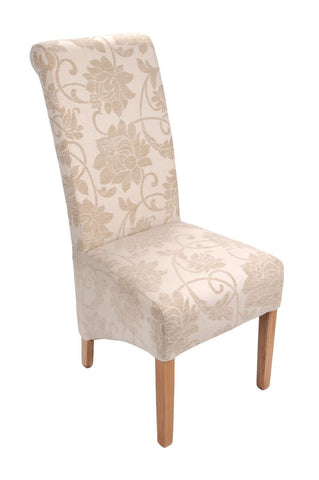 Mia Floral Cream Fabric Dining Chair-fabric dining chairs-shankar-GoFurn Furniture Store Kent