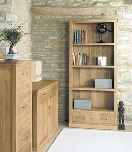 Mobel Oak Large Three Drawer Bookcase-home office storage bookcase-Baumhaus-GoFurn Furniture Store Kent
