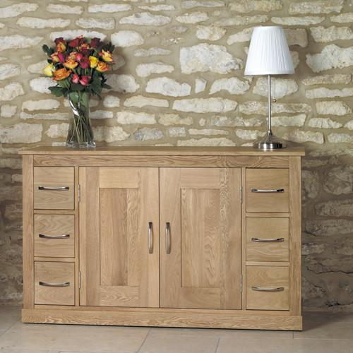 Mobel Solid Oak Six Drawer Sideboard-home office storage sideboard-Baumhaus-GoFurn Furniture Store Kent