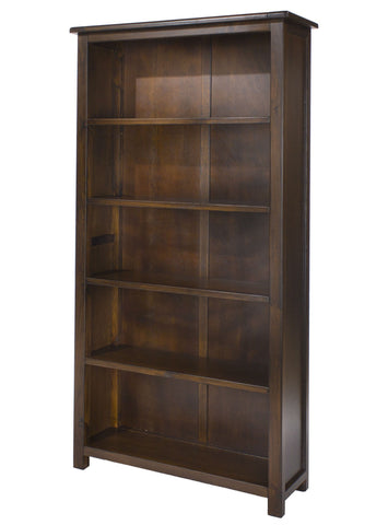 Nepal Tall Dark Wood Bookcase-dark wood tall Bookcases-core products-GoFurn Furniture Store Kent